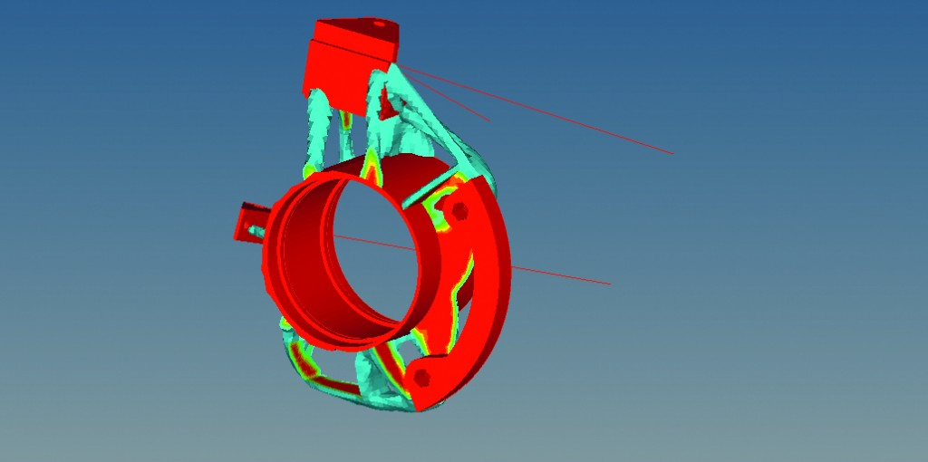 students used Altair OptiStruct to optimize an initial prototype a rear hub design from the previous year's entry.